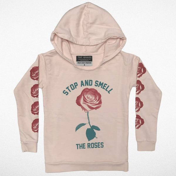 Smell The Roses Hooded Sweatshirt- Faded Pink