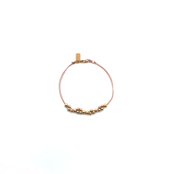 Gold Bead With Pink Silk Bracelet