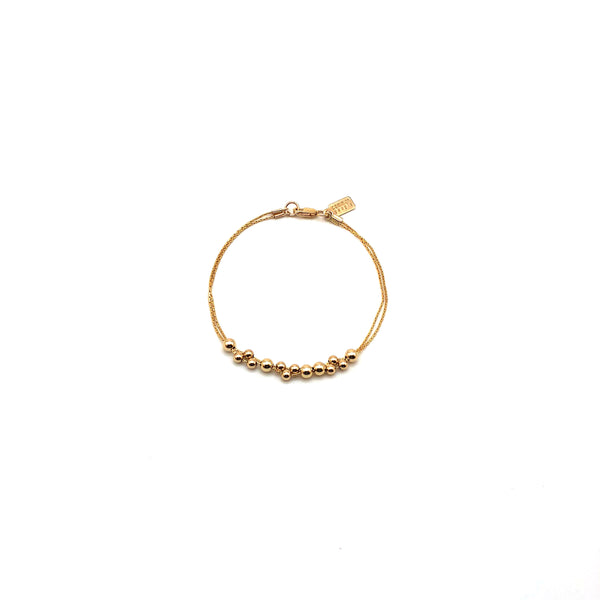 Gold Bead With Gold Silk Bracelet