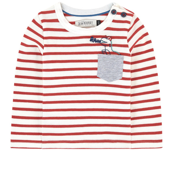 Red and White Stripe Dinosaur Graphic Long Tee by Jean Bourget