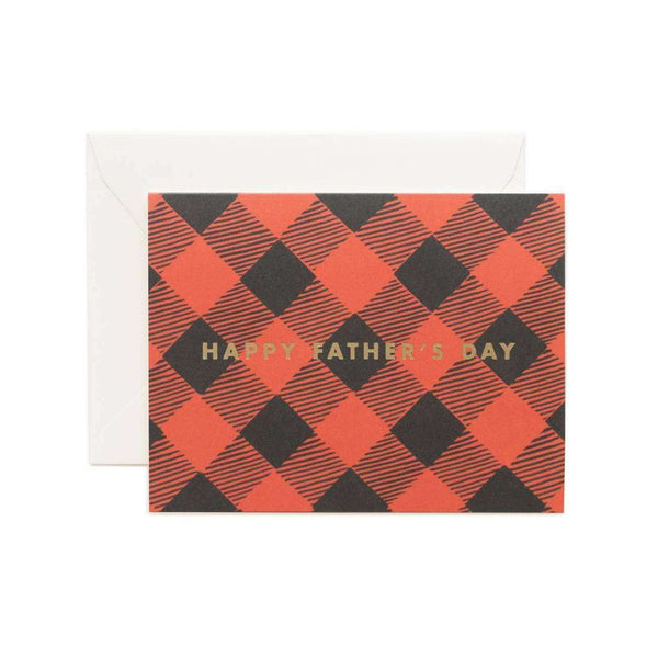 Father's Day Plaid Foil Greeting Card