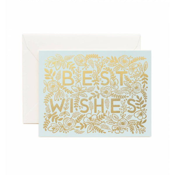 Golden Best Wishes Greeting Card