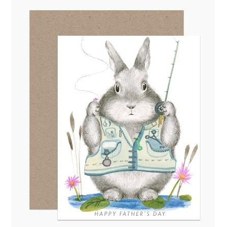 Father's Day Fishing Bunny Greeting Card