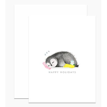Sleeping Holiday Penguin Greeting Card