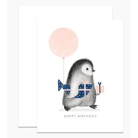 Penguin With Wrapped Fish Gift Greeting Card