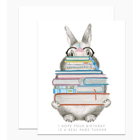 Page Turner Bunny Greeting Card