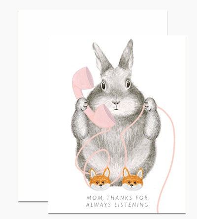 Bunny In Fox Slippers Mom Greeting Card