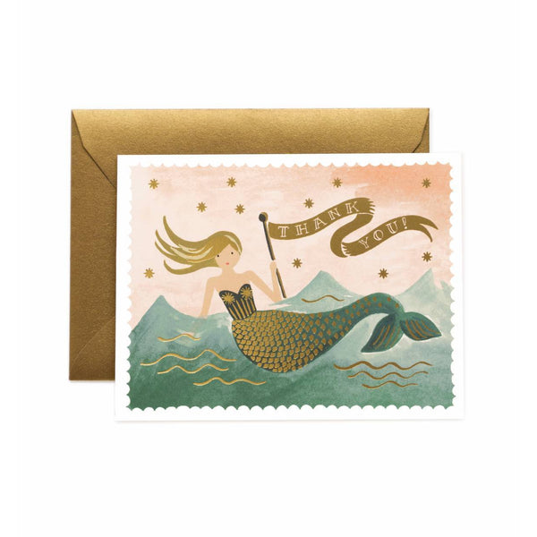 Vintage Mermaid Thank You Greeting Card