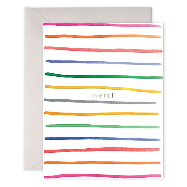 Merci Stripes Greeting Card Greeting Cards