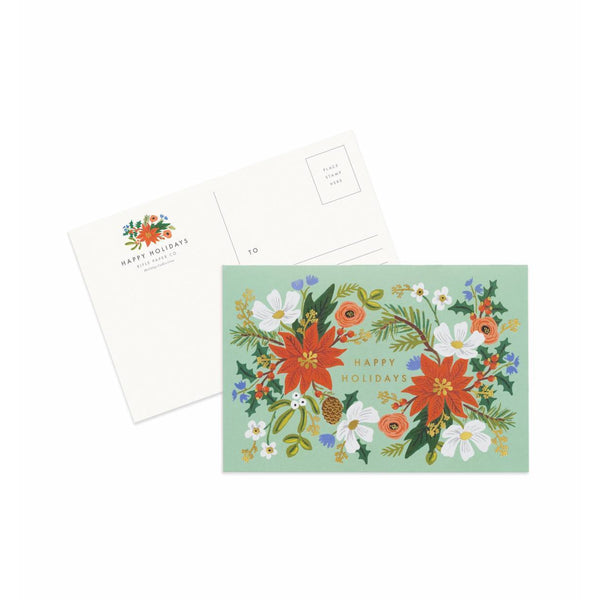 Pack Of 10 Holiday Floral Postcards