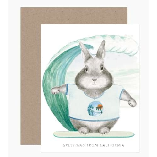 Surfer Bunny Greeting Card Greeting Cards