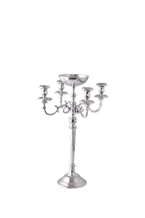 Silver Regency 4 Light Candelabra with Bowl Center 28""
