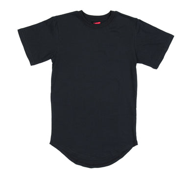 Scalloped E-Long Scoop Tee - Black
