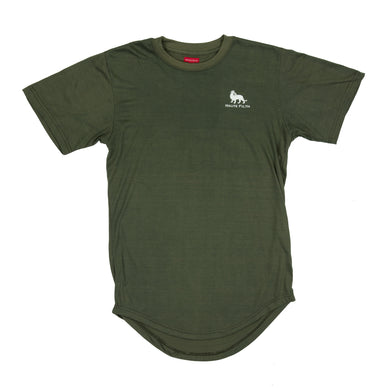 Scalloped E-Long Scoop Tee - Military Green - Haute Filth