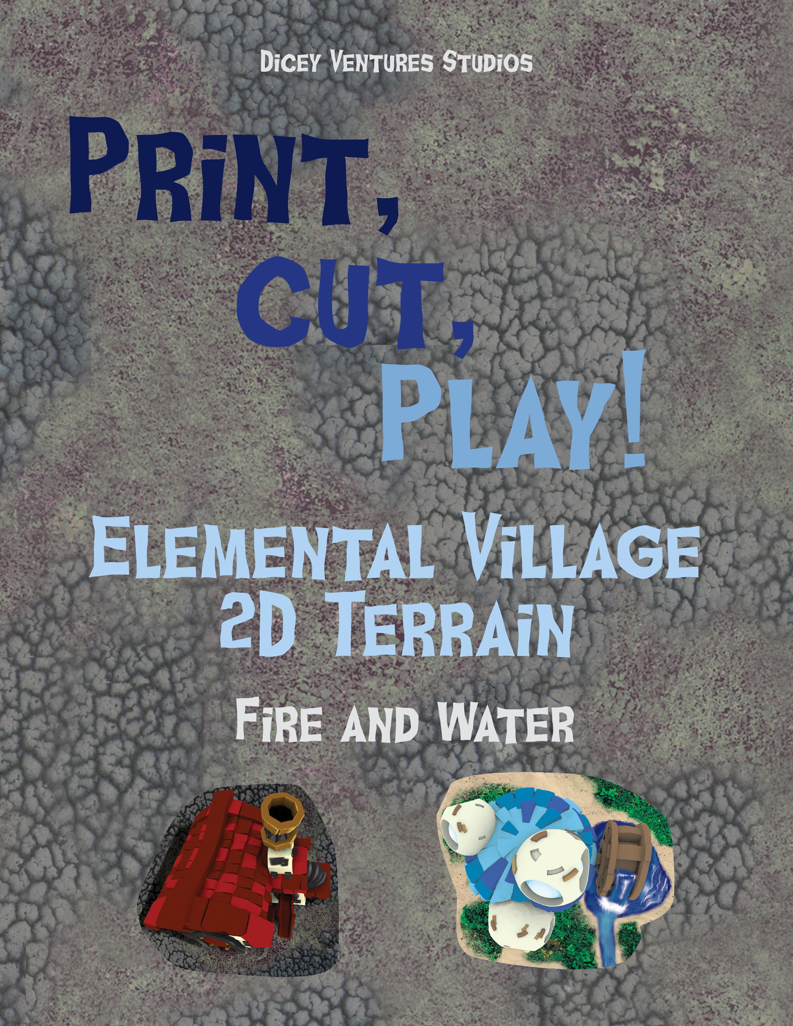 photo relating to 2d Printable Terrain titled Elemental Village: Print and Enjoy 2D Terrain - Fireplace/H2o