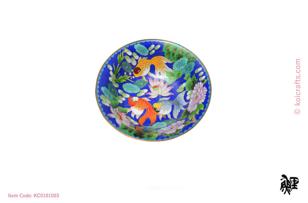 Small Cloisonne goldfish bowl with royal blue background