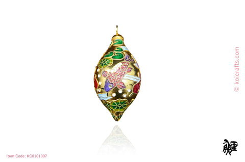 Big oblong Koi cloisonne ornament