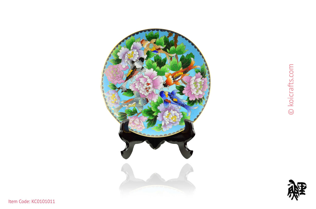 Round Cloisonne Koi Plate on blue back ground