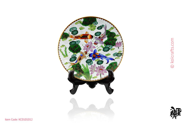 Round Koi Cloisonne Plate in white back ground