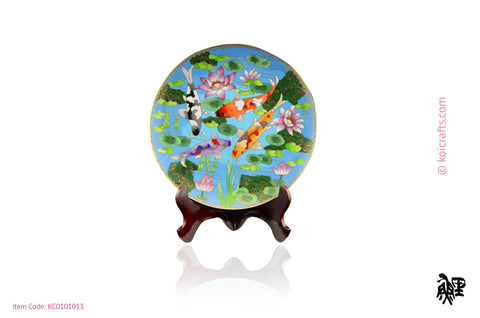 Round light blue, black background Koi cloisonne plate