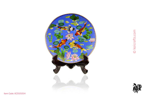 Round, dark blue background koi plate cloisonne.