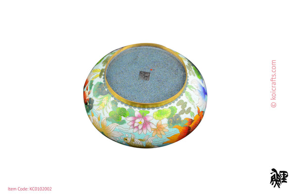 Large cloisonne pot with lid goldfish in blue background