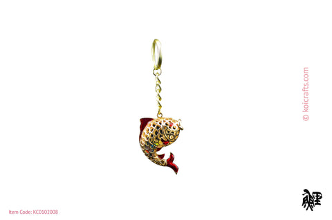 Large koi chain with gem stones inside gold & red body