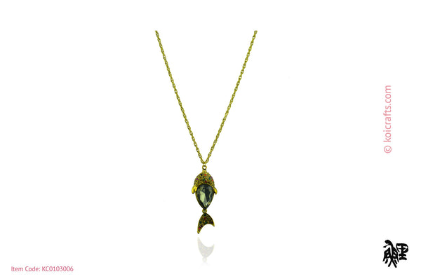 Fish pendant with gold color chain.