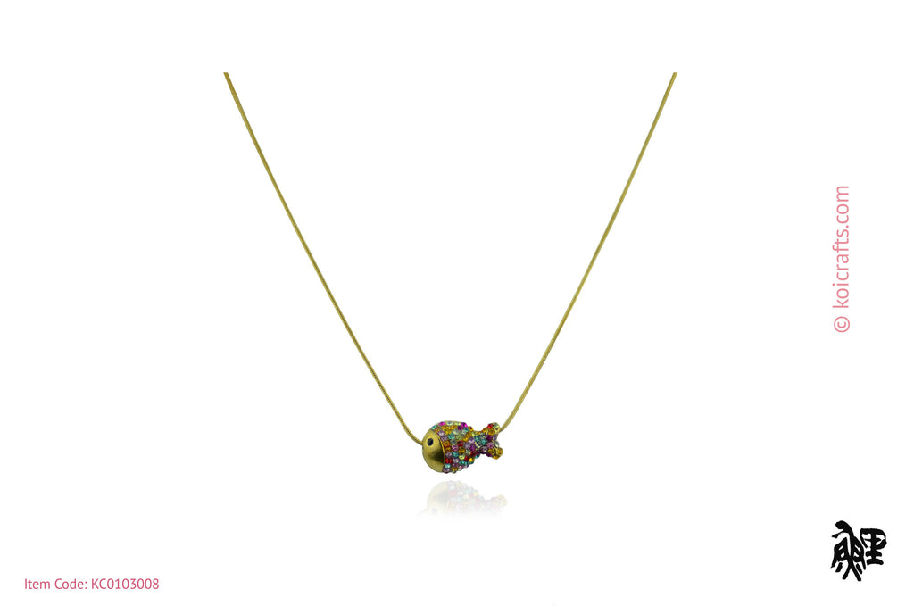 Multi color stone / crystals fish pendant on gold color chain.