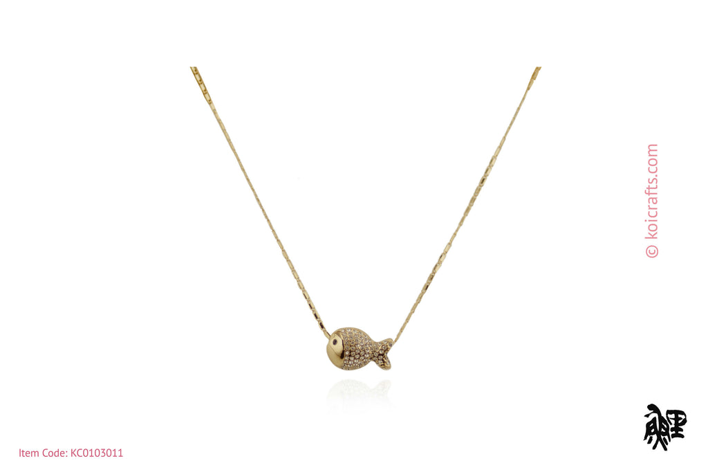 Fish pendant on gold color chain