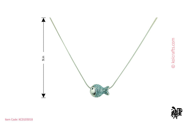 Multi color swarovski crystals fish pendant on silver color chain.