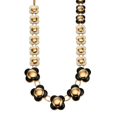 Orla Kiely Daisy Chain Long Flower Necklace Black - Stevens Jewellers Letterkenny Donegal