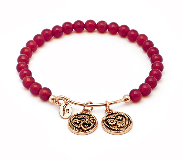Love Red Agate Expandable Bangle - Stevens Jewellers Letterkenny Donegal