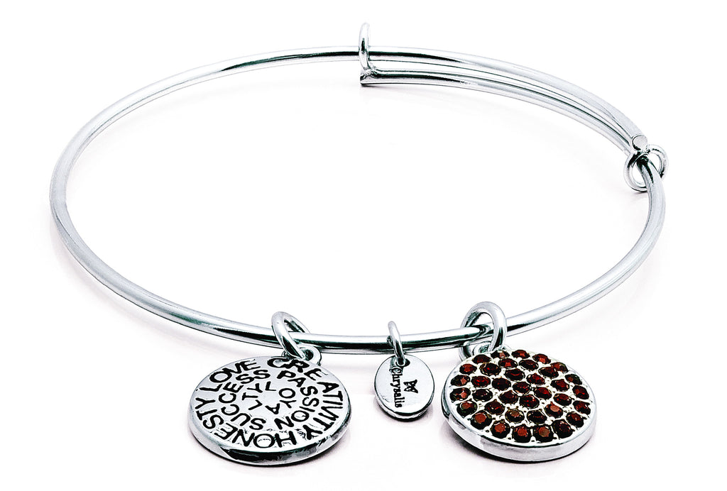 Garnet Crystal Expandable Bangle - Stevens Jewellers Letterkenny Donegal