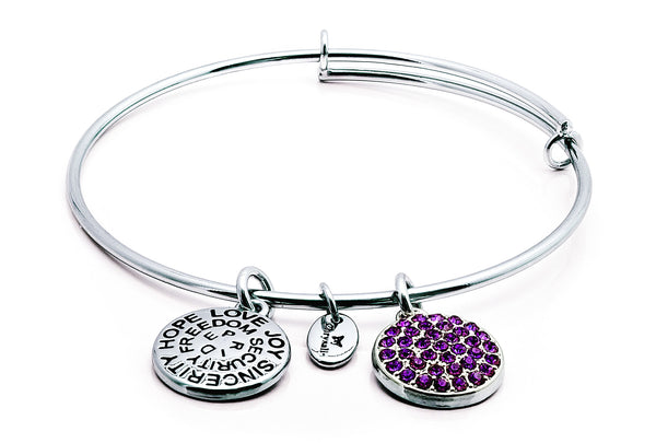 Amethyst Crystal Expandable Bangle - Stevens Jewellers Letterkenny Donegal
