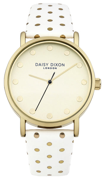 Candice Gold and White Polka Dot Watch - Stevens Jewellers Letterkenny Donegal