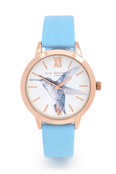 Elie Beaumont Birdcage Humming Bird - Baby Blue Leather - Stevens Jewellers Letterkenny Donegal