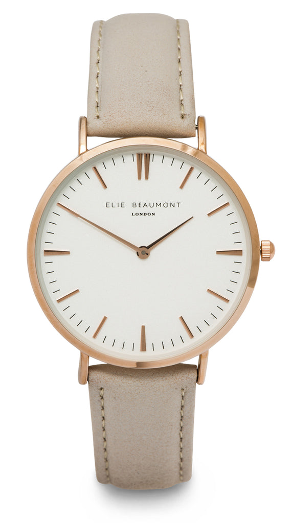 Elie Beaumont Oxford Large Ladies Watch - Grey Nappa Leather - Stevens Jewellers Letterkenny Donegal