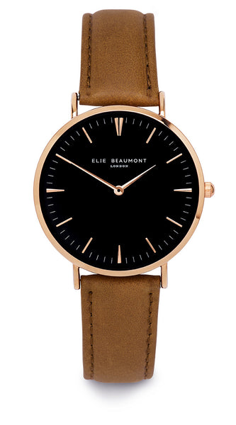 Elie Beaumont Oxford Large Ladies Watch - Black on Mustard - Stevens Jewellers Letterkenny Donegal