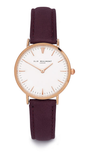 Elie Beaumont Oxford Small Ladies Watch - Purple Nappa Leather - Stevens Jewellers Letterkenny Donegal