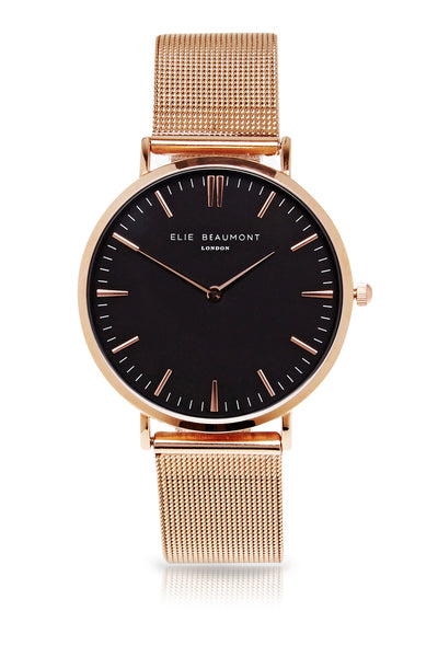 Elie Beaumont Oxford Mesh Large - Rose Strap/Black - Stevens Jewellers Letterkenny Donegal