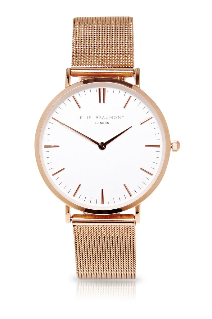 Elie Beaumont Oxford Mesh Large - Rose Strap/White - Stevens Jewellers Letterkenny Donegal