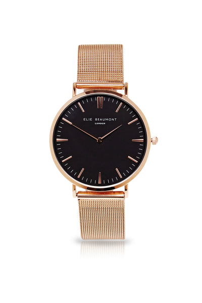 Elie Beaumont Oxford Mesh Small - Rose Strap/Black - Stevens Jewellers Letterkenny Donegal