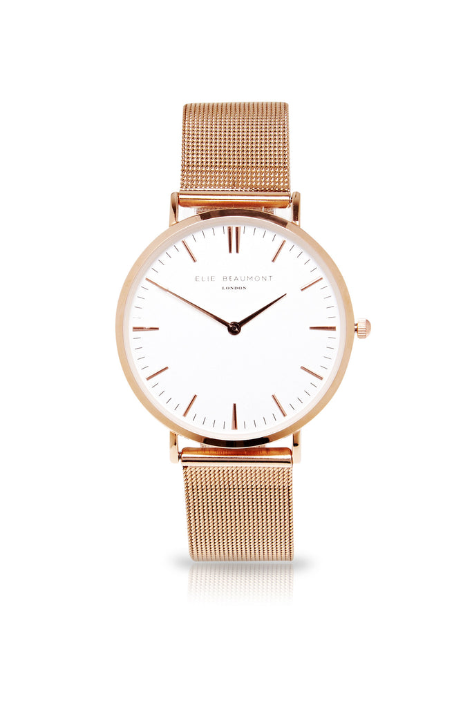 Elie Beaumont Oxford Mesh Small - Rose Strap/White - Stevens Jewellers Letterkenny Donegal