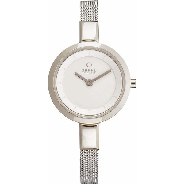 Obaku Ladies White Skinny Silver Tone Mesh Bracelet Watch