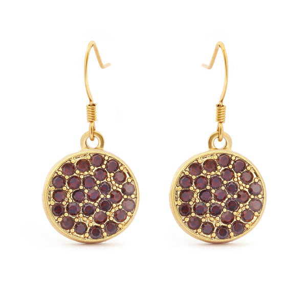 Garnet Crystal Drop Earrings - Stevens Jewellers Letterkenny Donegal