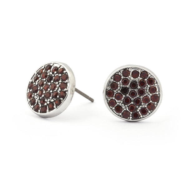 Garnet Crystal Stud Earrings - Stevens Jewellers Letterkenny Donegal