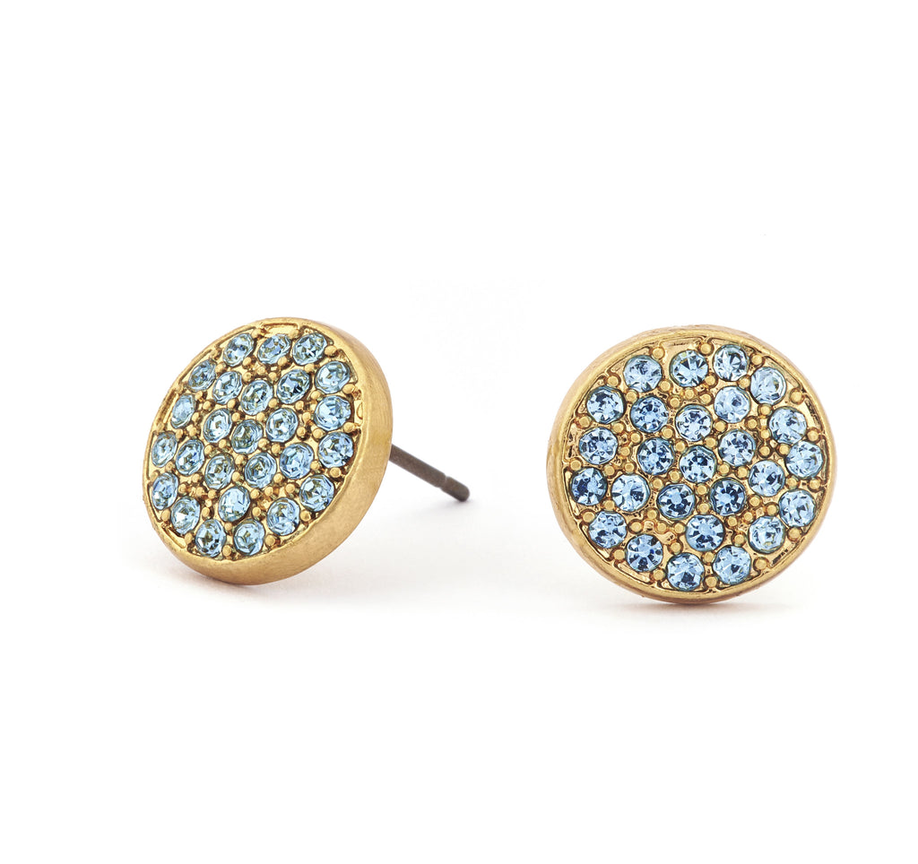 Aquamarine Crystal Stud Earrings - Stevens Jewellers Letterkenny Donegal