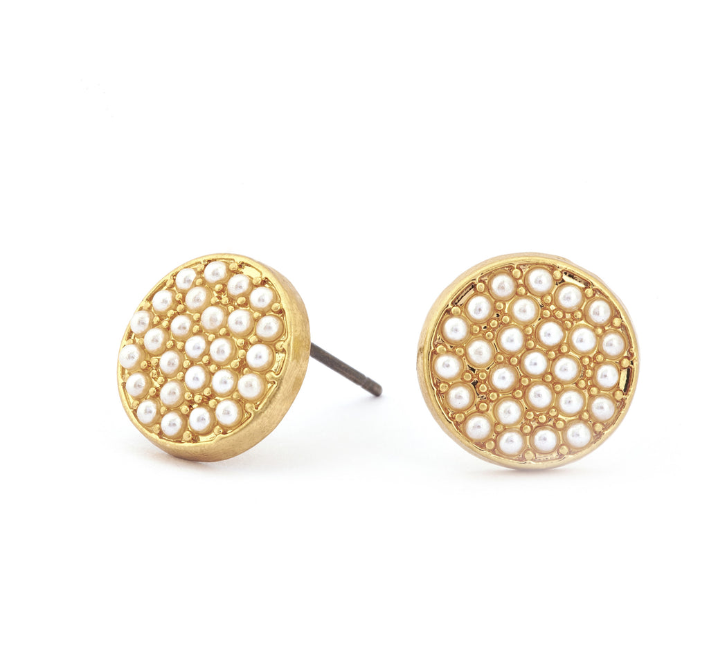 Glass Pearl Crystal Stud Earrings - Stevens Jewellers Letterkenny Donegal