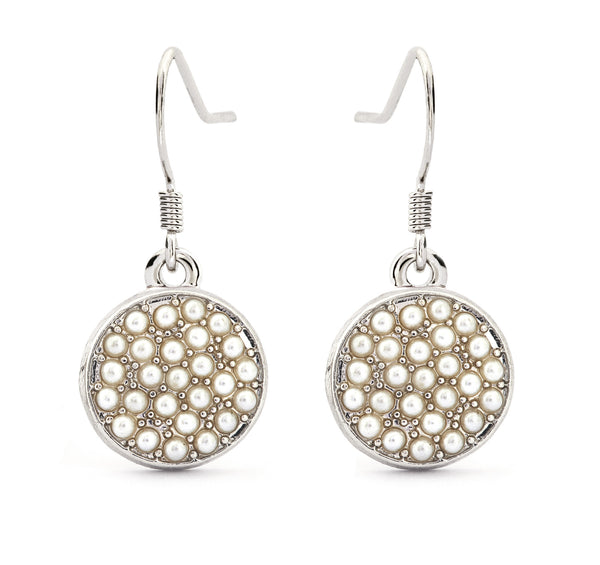 Glass Pearl Crystal Drop Earrings - Stevens Jewellers Letterkenny Donegal